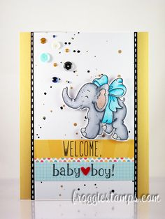Copic card using the Magnolia - Little Trumpety with Bow stamp. Made by Kelli