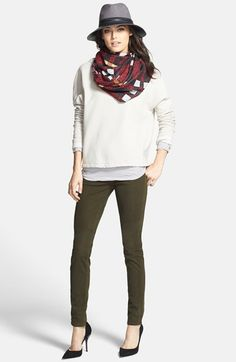 Velvet by Graham & Spencer Pullover, James Perse Stripe Tee & Leith Print Scarf