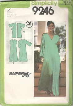 Simplicity 9246 1970s Jiffy Misses Pullover Caftan Pattern
