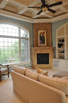 Family Room Painted with a Side of Painter's Remorse Blue Family Rooms, Palladium Blue, Open Layout, Room Colors, Paint Colors, Room Paint, Comfort Zone, Home Office, Evolution