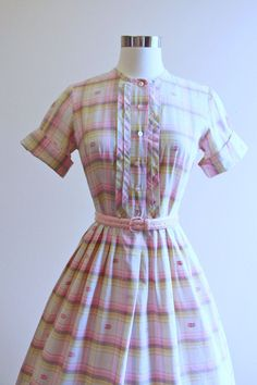 50s Dress Vintage 1950s Dress Pink Cocoa Pintucked by jumblelaya