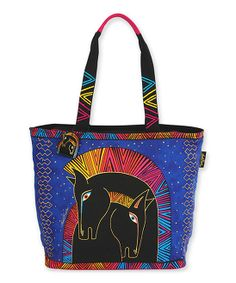 Blue & Pink Embracing Horses Tote | Daily deals for moms, babies and kids