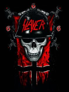 Listen to music from Slayer. Find the latest tracks, albums, and images from Slayer. Arte Heavy Metal, Heavy Metal Music, Heavy Metal Bands, Metal Skull, Skull Art, Musica Metal, Arte Punk, Rock Band Posters, Rock Band Logos