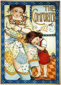 The Comforter/quilt/stitching/sewing/mother/daughter/little girl/hug