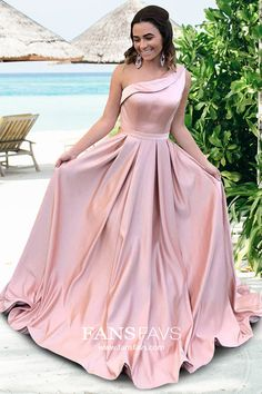Shop A-line One Shoulder Satin Sweep Train Sashes / Ribbons Prom Dresses at FansFavs. Discover more Prom Dresses online to fit your fashionable needs. Prom Dresses Canada, Pink Prom Dresses, Prom Dresses Online, Mermaid Prom Dresses, Pageant Dresses, Pretty Dresses, Pink Dress, Evening Dresses, Prom Gowns