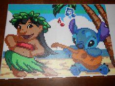 Disney Lilo Stitch hama beads pegboards) by swarovski - hama. Hama Disney, Hama Beads Disney, Perler Beads, Perler Bead Art, Fuse Beads, Fuse Bead Patterns, Perler Patterns, Beading Patterns, Pixel Art