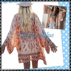 Trendy Peach Kimono Very pretty sheer peach kimono with brown cow skull and feather design. Looks adorable belted or open (belt not included). Please feel free to ask any questions. Thank you for looking  This listing is for large but could fit smaller also depends on how you like to wear it Accessories Scarves & Wraps