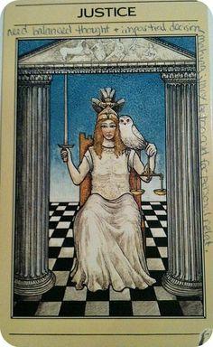 Justice - Mythic Tarot by Liz Greene, Tricia Newell, Juliet Sharman-Burke See Yourself, True Tarot, Justice Tarot, Tarot Cards Major Arcana, Dylan Dog, Free Tarot Reading, Lady Justice, Tarot Card Meanings, Day Book