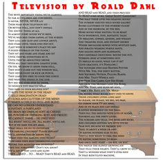 poem television by roald dahl First Reading Books, Great Scott, Nursery Shelves, Roald Dahl, Learn To Read, Wise Words, Books To Read, Poems, Let It Be