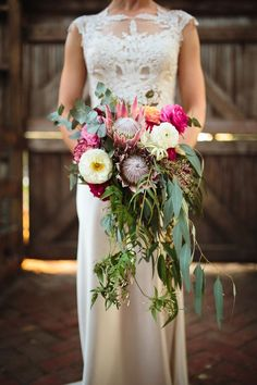 A Colorful Country Meets City Wedding - Chic Vintage Brides Protea Bouquet, Eucalyptus Bouquet, Farm Wedding, Boho Wedding, Floral Wedding, Wedding Flowers, Asos Bridesmaid, Bridesmaid Bouquet, Photography
