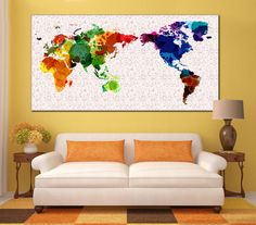 Green leaf art city giclee print framed canvas art httpsapi world map canvas poster watercolor world map framed print world map printable wall decor sciox Gallery