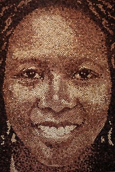 AMAZING!  Large scale portraits made with old wine corks, 200 hours 9,217 corks, so cool!