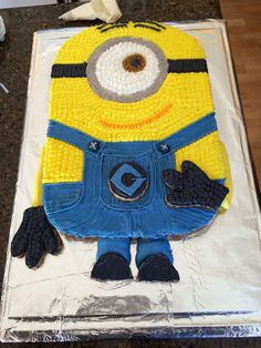 Despicable Me minion cookie cake; my mom made this for my sister's Despicable Me themed birthday party