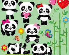 Panda Bear Clip art and digital paper set Panda clipart Panda Bebe, Cute Panda, Panda Lindo, Panda Baby Showers, Panda Painting, Panda Drawing, Panda Wallpapers, Little Panda, Cute Unicorn