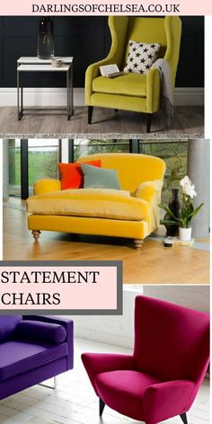Every living room needs an statement armchair right? Whether you want to sit by the fire or read a book, or look out of the window, statement chairs can really bring the living room decor to life. We've a selection of gorgeous chairs in beautiful jewel colour, both velvet and plain fabric, in a range of sizes. Be brave and go for some colour, a big trend in interiors right now. Made here in the UK by british sofa experts Darlings of Chelsea. #darlingsofchelsea #statementchairs #velvetchairs