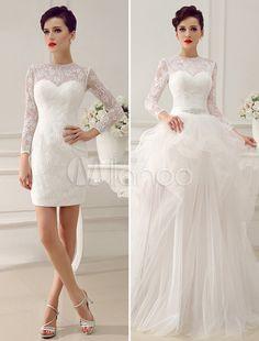 Glamorous Knee-Length Ivory Bridal Wedding Dress With Jewel Neck Lace - Milanoo.com