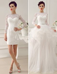 Ivory A-Line Rhinestone Lace Semi-Sheer Wedding Dress