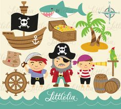 Pirates Digital Clipart Set  13001 by LittleLiaGraphic on Etsy, $3.60