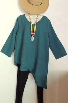 TOOFAN WOMENS COMFY LAGENLOOK CLOTHING 3/4 Sleeve Cotton Teal V Neck Tunic Large #Toofan #Tunic #CareerorCasual