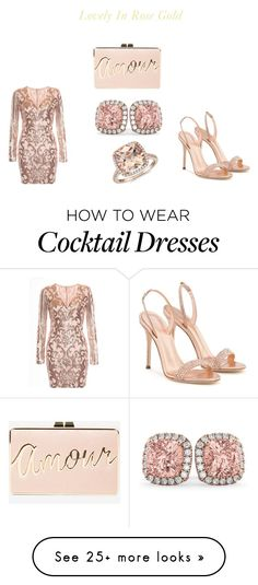 """""""Lovely In Rose Gold"""" by kansadie on Polyvore featuring Blue Nile, Allurez, BCBGMAXAZRIA and Giuseppe Zanotti"""