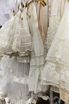 Vintage/Antique lace, ruffles, petticoats, layers, overlay, short and long....