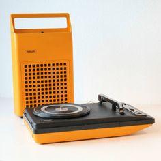 toca disco amarelo - vintage e retrô philips