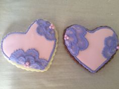 Sugar cookies with raspberry royal icing