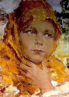 Nicolai Fechin (1881-1955) Girl in Orange Shawl Oil on canvas