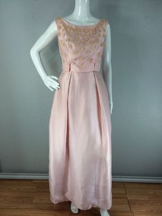 Vintage 1960s Embroidered Floral Pink Bows Maxi Dance Party Dress Size Small   eBay