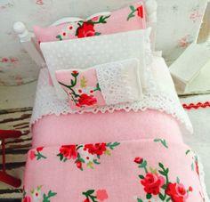 Miniature Dollhouse Single White bed with by RibbonwoodCottage