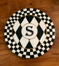 This incredibly handsome lazy susan is painted in black and white checked and harlequin patterns. The addition of an initial in the middle brings it to another level. Initials and letters are so popular these days. This charming piece is just the right mix of whimsy and sophistication. I offer 15, 16, 18, 20, 22, 24, 30.  Sanded, hand painted and sealed to a glorious, high gloss finish. You wont be disappointed with this gorgeous, functional piece of personalized art.  I cater to custom, so…