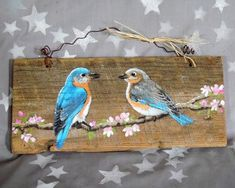 Bluebirds and Cherry Blossoms hand painted barnwood rustic Pallet Painting, Tole Painting, Painting On Wood, Painting & Drawing, Arte Pallet, Pallet Art, Barn Wood Crafts, Painted Boards, Bird Art