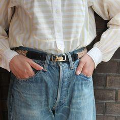 "Vintage ""CELINE"" Horse Carriage Buckle Belt (Navy x Brown x Natural) / セリーヌ・ビンテージメッシュベルト"