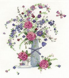 BK1444 Summer Floral cross stitch kit using DMC stranded cotton threads. available from DMC stockists in the UK. Visit: www.dmccreative.co.uk