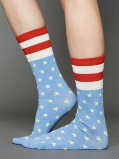 Free People Americana Ankle Sock, 12.00