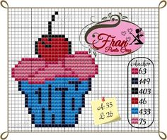 cupcakes Loom Patterns, Cross Stitch Patterns, Cupcake Cross Stitch, Cupcake Crafts, Stitch Cartoon, Stitch 2, Loom Beading, Cross Stitching, Smurfs