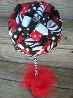 Ribbon Topiary in Zebra Red Black White by TangledRibbonParties, $30.00