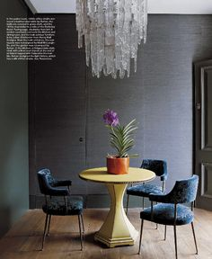 that chandelier and the upholstered table
