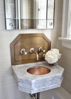 Small Bathroom Sink Ideas. Small Bathroom Sink. Small Bathroom Sink with Wall Mount Faucet. #SmallBathroom #Sink Alisberg Parker