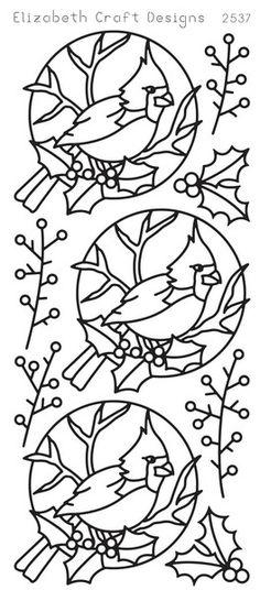 ELIZABETH CRAFT Cardinal Bird GOLD N2537 Peel Off Stickers OUTLINE