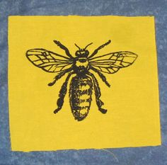 Honey Bee Patch   Black Ink on Yellow Fabric  by phoenixcompost, $3.00 - could be cute in a grey frame
