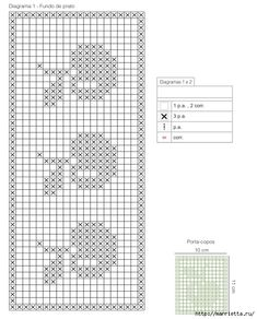 set of table and under glass - Grillen Styla Motif Mandala Crochet, Crochet Borders, Tapestry Crochet, Crochet Squares, Crochet Patterns, Filet Crochet, Crochet Chart, Tiny Cross Stitch, Cross Stitch Patterns