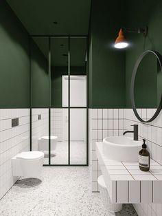 green bathroom Architect emildervish teamed up with evgeniibulatnikov to design Salon Odes in Odessa, Ukraine, whose minimalist bathroom combines bold White Bathroom, Small Bathroom, Bathroom Green, Bathroom Ideas, Mirror Bathroom, Modern Bathrooms, Bathroom Vanities, Bathroom Remodeling, Wall Mirror