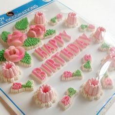 Vintage candy cake decorations.