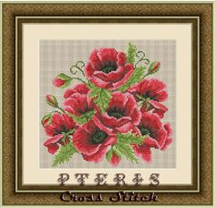 Counted Cross Stitch Pattern PDF - Berlin Woolwork Vintage Flowers 27 This design will make a great pillow cross stitch design or wall