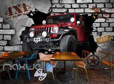 3D 4X4 Jeep Car Breakthrough Brick Wall Art Wall Murals Wallpaper Decals Prints Decor IDCWP-JB-000249
