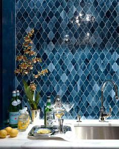 lovely moroccan tile backsplash ideas blue arabesque tiles home bar decor ideas.ie for more ideas using moroccan tiles. Moroccan Tile Backsplash, Herringbone Backsplash, Backsplash Ideas, Backsplash Tile, Tile Ideas, Moroccan Kitchen Tiles, Blue Kitchen Backsplash, Tiling, Backsplash Wallpaper
