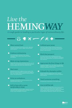 If you ask me, there are few better examples of the quintessential man than Ernest Hemingway. Sure, he had some flaws, but damn, he was a cool dude. Last summer, in honor of the 50th anniversary of Hemingway's passing, the good folks at 1000memories created this great poster titled Live the Hemingway.  The chances of living the life that Hemingway did are slim, but with the help of the wisdom on this poster, you can at least have a decent shot at leading leading a particular type of…