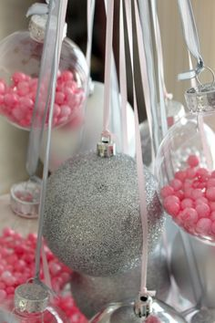 Pink and silver christmas ornaments