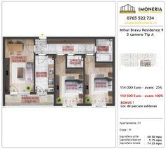 Apartamente de vanzare Mihai Bravu Residence 9 -3 camere tip A Floor Plans, Floor Plan Drawing, House Floor Plans